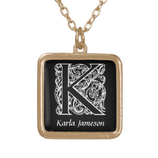 Decorative Letter K Monogram Initial Personalized Square Pendant Necklace