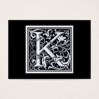 """Decorative Letter """"K"""" Woodcut Woodblock Initial Business Card"""