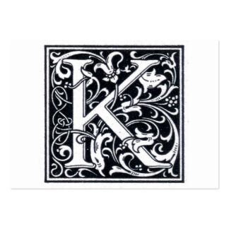 "Decorative Letter ""K"" Woodcut Woodblock Initial Business Card Template"