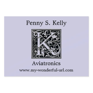 """Decorative Letter """"K"""" Woodcut Woodblock Initial Pack Of Chubby Business Cards"""