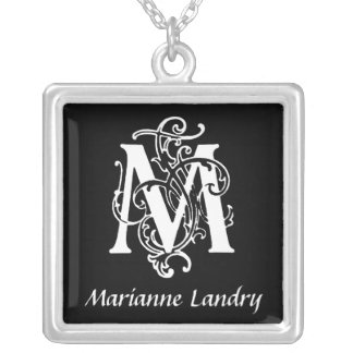 Decorative Letter M Monogram Initial Personalized Pendants