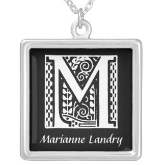 Decorative Letter M Monogram Initial Personalized Personalized Necklace