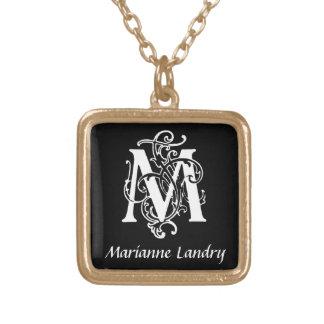 Decorative Letter M Monogram Initial Personalized Square Pendant Necklace