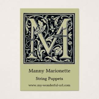 "Decorative Letter ""M"" Woodcut Woodblock Initial"
