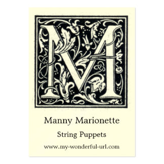 "Decorative Letter ""M"" Woodcut Woodblock Initial Large Business Cards (Pack Of 100)"