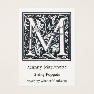 """Decorative Letter """"M"""" Woodcut Woodblock Initial Business Card"""