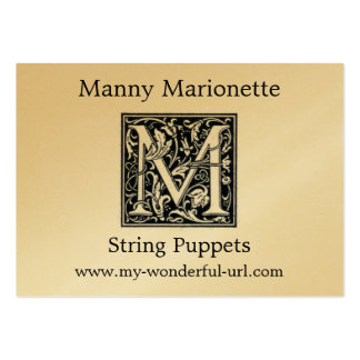 """Decorative Letter """"M"""" Woodcut Woodblock Initial Pack Of Chubby Business Cards"""