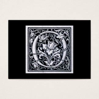 """Decorative Letter """"O"""" Woodcut Woodblock Initial Business Card"""