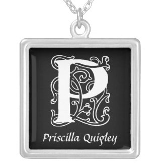 Decorative Letter P Monogram Initial Personalized Jewelry