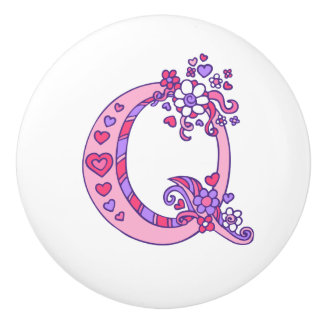 Decorative letter Q monogram pink purple pull knob
