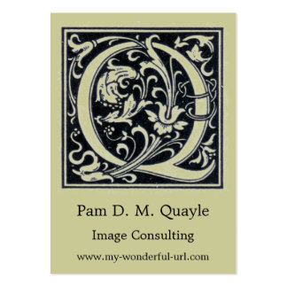 """Decorative Letter """"Q"""" Woodcut Woodblock Initial Pack Of Chubby Business Cards"""