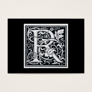 """Decorative Letter """"R"""" Woodcut Woodblock Initial Business Card"""
