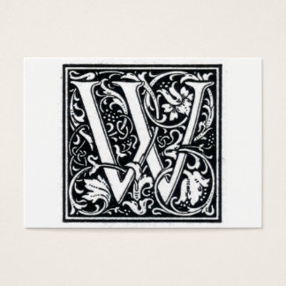 """Decorative Letter """"W"""" Woodcut Woodblock Initial Business Card"""
