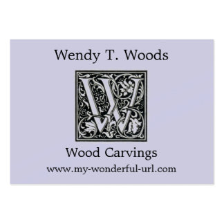 "Decorative Letter ""W"" Woodcut Woodblock Initial Pack Of Chubby Business Cards"