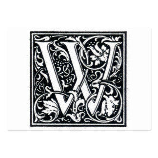 """Decorative Letter """"W"""" Woodcut Woodblock Initial Pack Of Chubby Business Cards"""