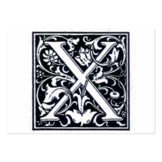 """Decorative Letter """"X"""" Woodcut Woodblock Initial Pack Of Chubby Business Cards"""