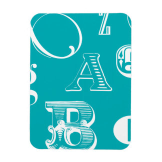 Decorative Letters on Blue Background Rectangular Photo Magnet