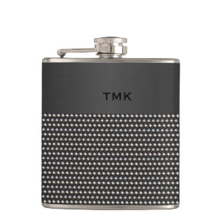 Decorative Metal Look Monogramed Flask