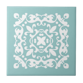 Decorative Mint Green and White Choose Your Color Tile