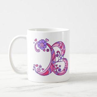 Decorative Monogram B hearts & flowers pink mug
