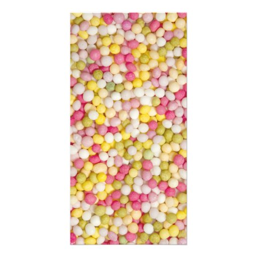 Decorative multicoloured sugar sprinkles card photo cards
