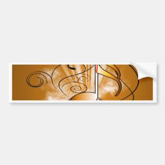 Decorative music note bumper sticker