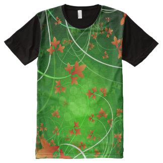 Decorative Orange Flowers All-Over Print T-Shirt