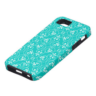 Decorative ornate damask pattern teal aqua blue case for the iPhone 5