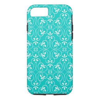 Decorative ornate damask pattern teal aqua blue iPhone 7 case