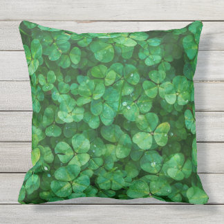 Decorative Outdoor Green Clover Throw Pillow