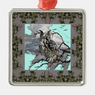 DECORATIVE OWL WILDERNESS GREY DESIGN METAL ORNAMENT