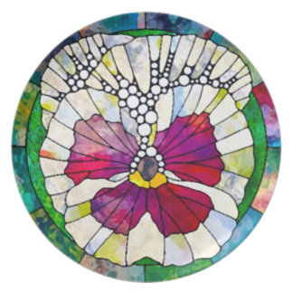 Decorative Pansy Mosaic Party Plate