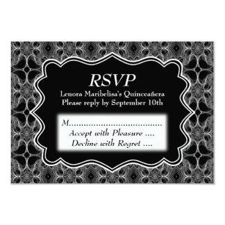 Decorative Pattern Black and White Quinceanera 9 Cm X 13 Cm Invitation Card