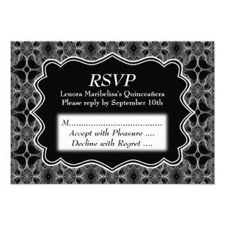Decorative Pattern Black and White Quinceanera Invitations