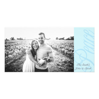 Decorative Peace Blue on Blue Seasonal Design Customized Photo Card