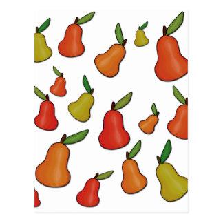 Decorative pears pattern postcard