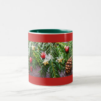 Decorative Pinecone and Snow Christmas Mug