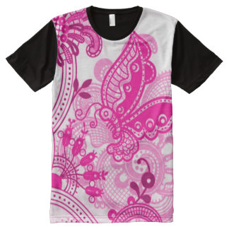 Decorative Pink Butterfly & Flowers Print All-Over Print T-Shirt