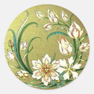 Decorative plants and flowers round sticker