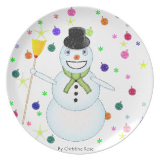 Decorative plate of Christmas Snowman