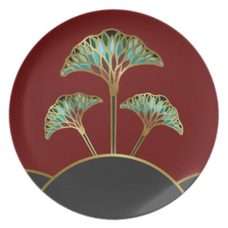 Decorative Plate with Art Deco Ginkgo Leaves