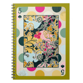 DECORATIVE PLAYING CARDS RANDOM PATTERNS FIVE BACK NOTEBOOKS