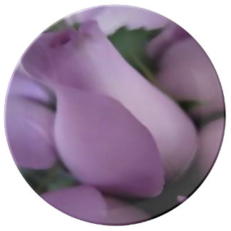 "Decorative, porcelain plate 10.75"" purple roses"