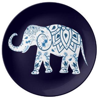 Decorative Porcelain plate ornate elephant