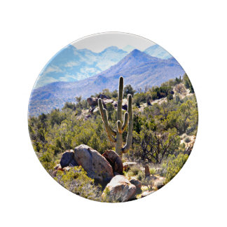 Decorative Porcelain Plate - Saguaro Mountains