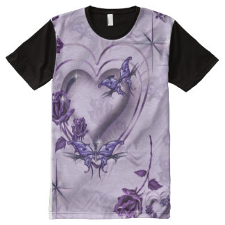 Decorative Purple Butterflies & Roses All-Over Print T-Shirt