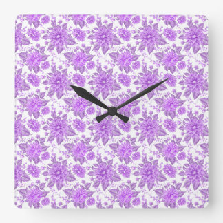 Decorative Purple Flowers Square Wall Clock