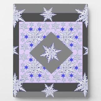 DECORATIVE PURPLE-GREY SNOW CRYSTALS  WINTER ART PLAQUE