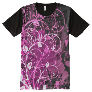 Decorative Purple Leaves Collage Art All-Over Print T-Shirt