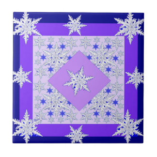 DECORATIVE PURPLE SNOW CRYSTALS  WINTER ART TILE